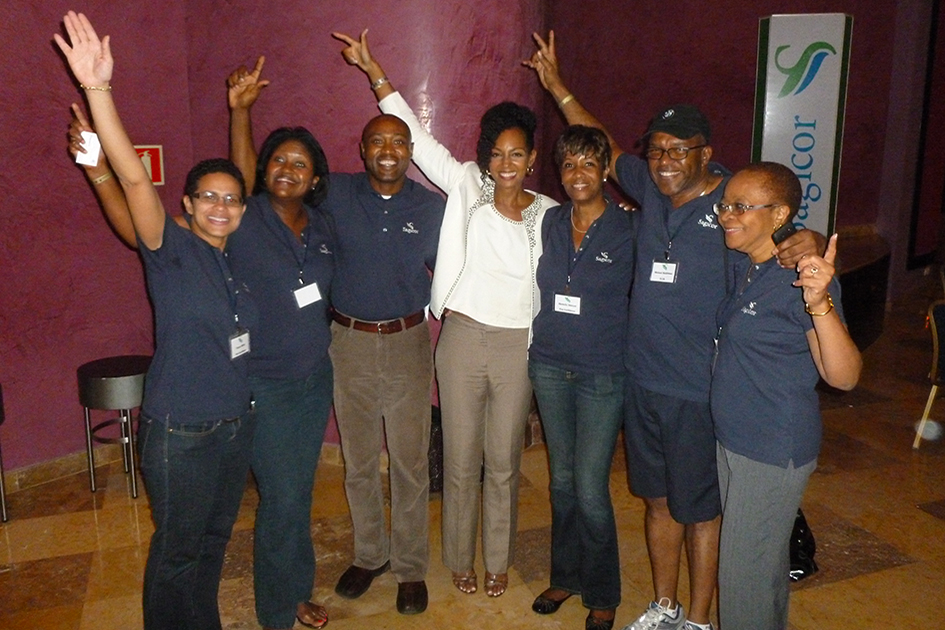 Teresa Kay-Aba Kennedy as keynote speaker for Sagicor Motivational Seminar in Montego Bay, Jamaica - October 1, 2011