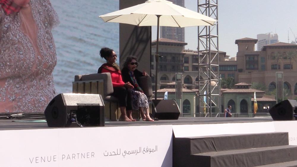 Teresa Kay-Aba Kennedy moderating conversation with 97-year-old yoga master Tao Porchon-Lynch at XYoga Dubai Festival - February 20, 2016