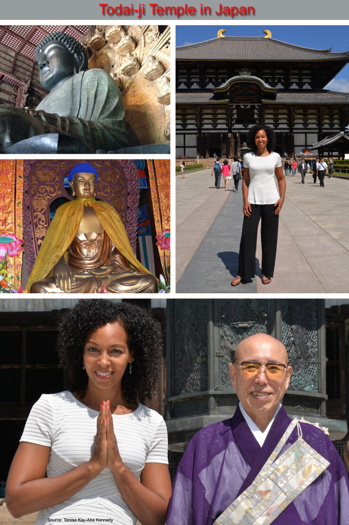Teresa Kay-Aba Kennedy at the Todai-ji Temple in Nara, Japan after the Young Global Leaders Summit in Beijing, China - September 2014