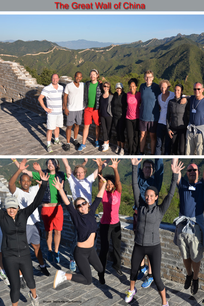 Teresa Kay-Aba Kennedy and other leaders jumping for joy on a private section of The Great Wall of China as part of the Young Global Leaders Summit in Beijing, China - September 2014