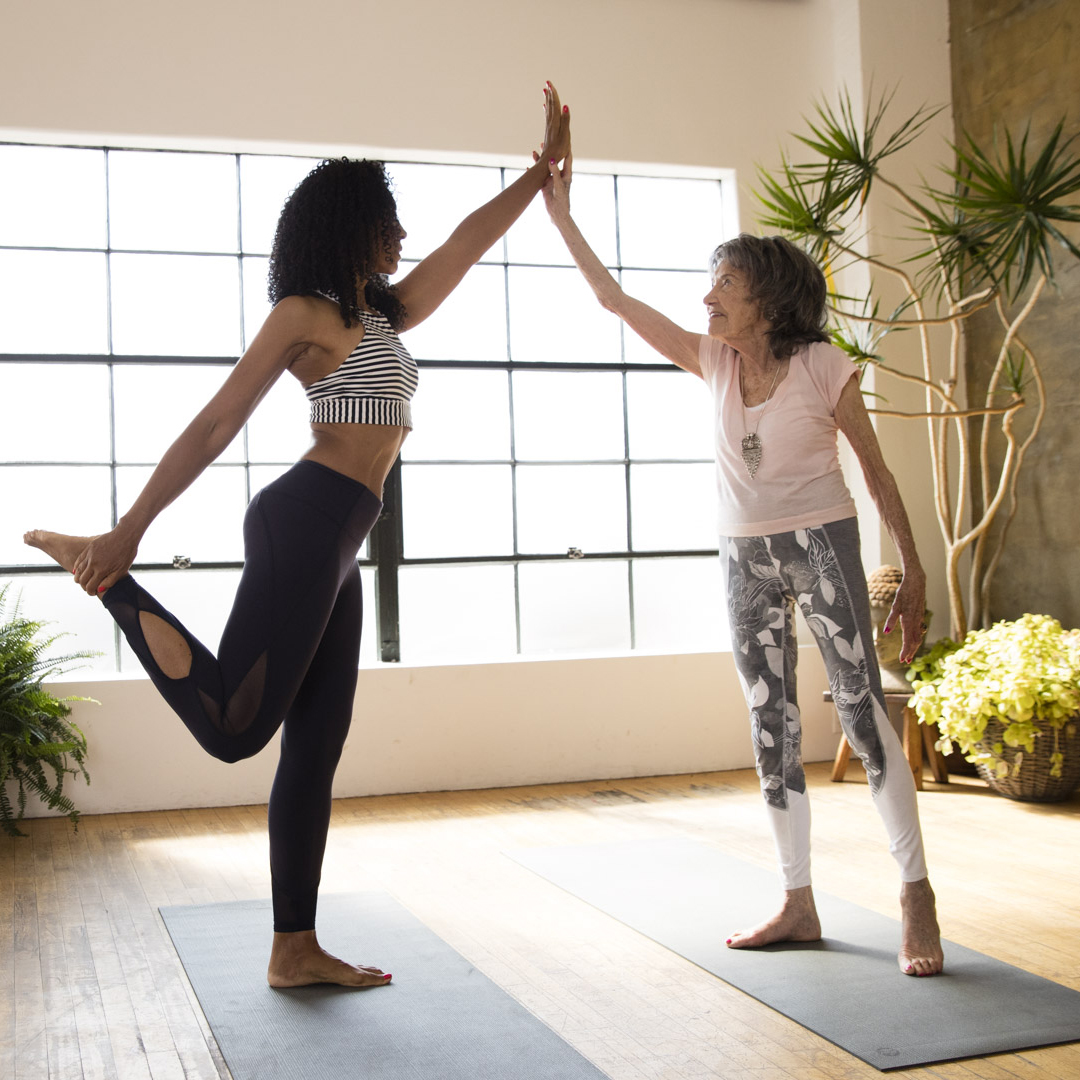 Teresa Kay-Aba Kennedy and 98-year-old yoga master Tao Porchon-Lynch in Athleta Power of She Campaign - January 2017