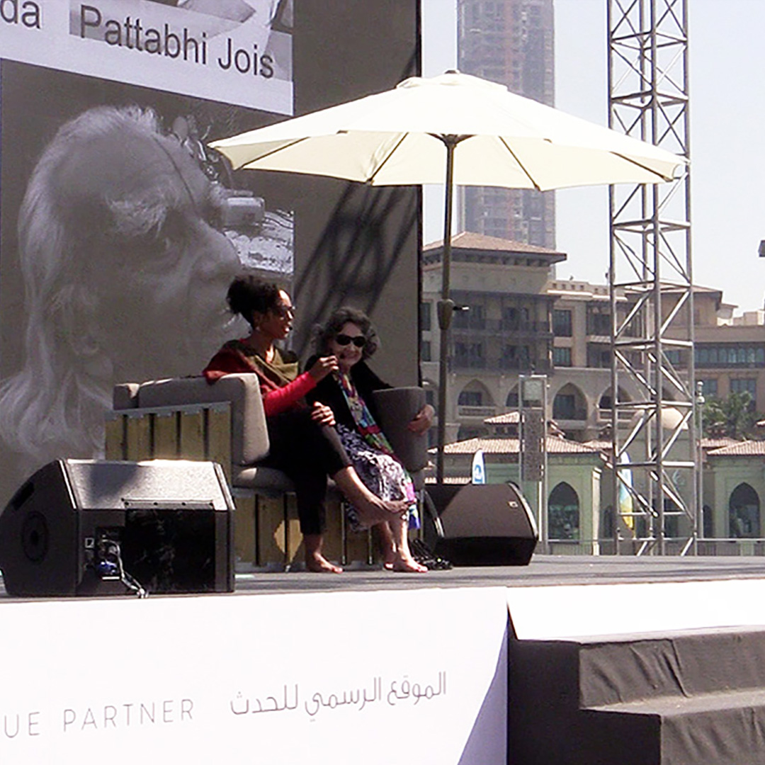 Teresa Kay-Aba Kennedy moderating conversation with 97-year-old yoga master Tao Porchon-Lynch at XYoga Dubai Festival - February 2016