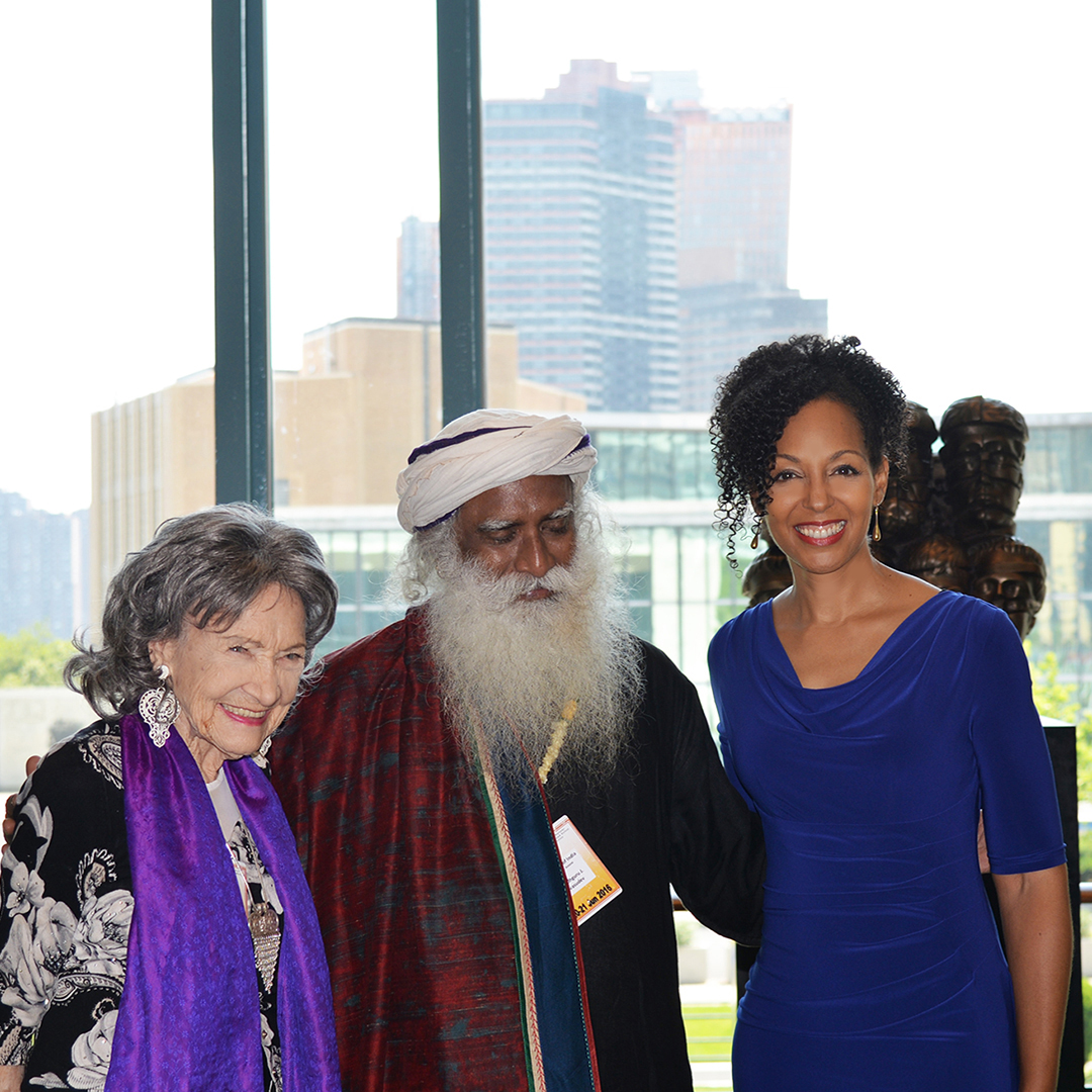 Teresa Kay-Aba Kennedy with 98-year-old yoga master Tao Porchon-Lynch and spiritual master Sadhguru Jaggi Vasudev at United Nations for International Day of Yoga - June 20, 2016