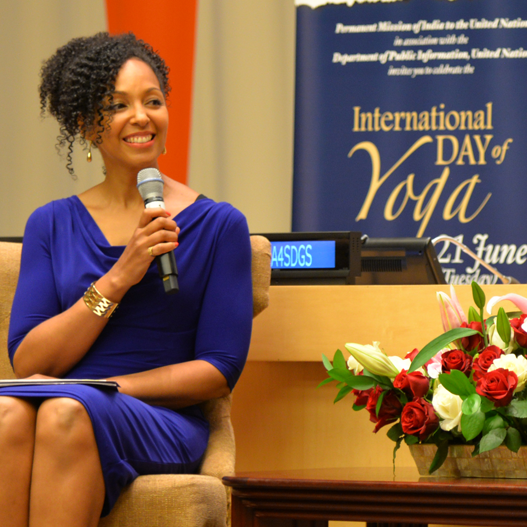 Teresa Kay-Aba Kennedy moderating at United Nations for International Day of Yoga - June 20, 2016