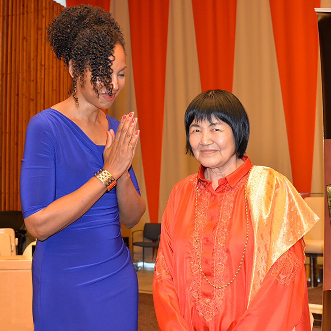 Teresa Kay-Aba Kennedy with Japanese yoga master Yogamata at United Nations for International Day of Yoga - June 20, 2016