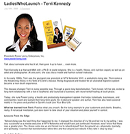 Teresa Kay-Aba Kennedy featured in Ladies Who Launch