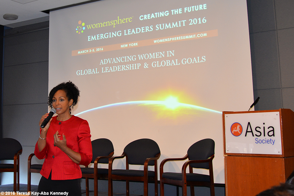 Teresa Kay-Aba Kennedy speaking at the Womensphere Global Summit in New York – March 4, 2016