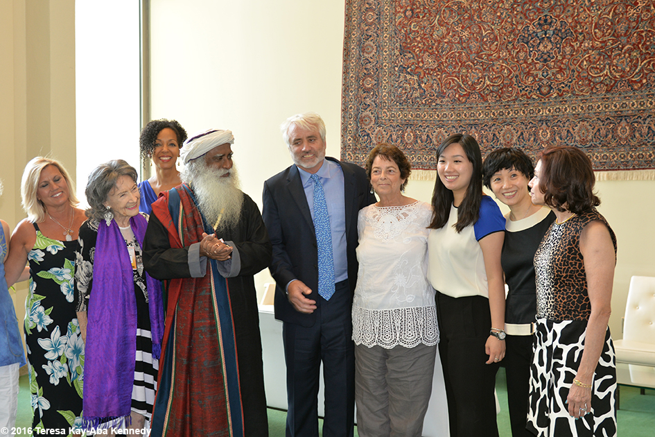 Baiju Mehta, Joyce Pines, Gretchen Robinson, 97-year-old yoga master Tao Porchon-Lynch, Teresa Kay-Aba Kennedy, Sadhguru Jaggi Vasudev, Max Kennedy, Linda Klein, Iris Lee, Regina Lee, Arlene Towers at United Nations International Yoga Day event – June 20, 2016