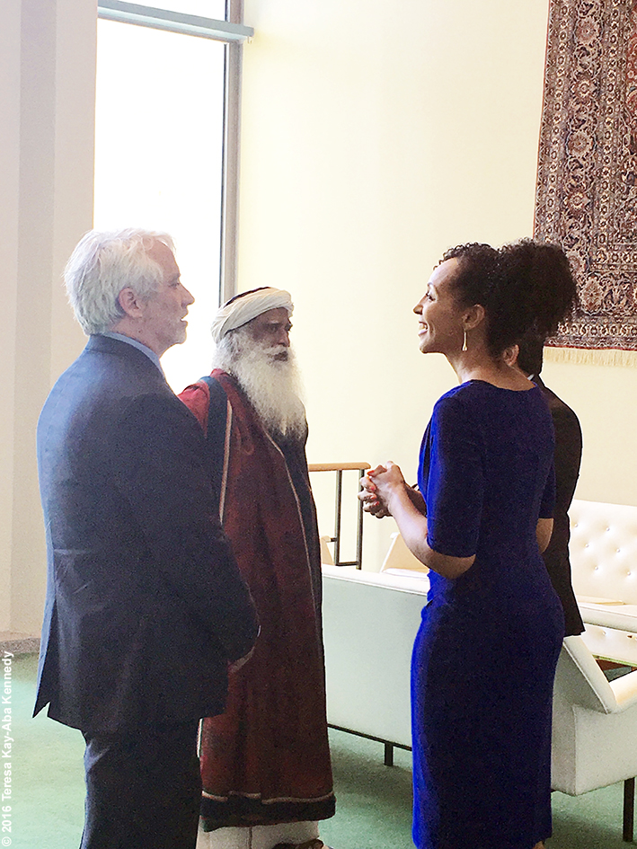 Max Kennedy, Sadhguru Jaggi Vasudev and Teresa Kay-Aba Kennedy at the United Nations for International Yoga Day – June 20, 2016