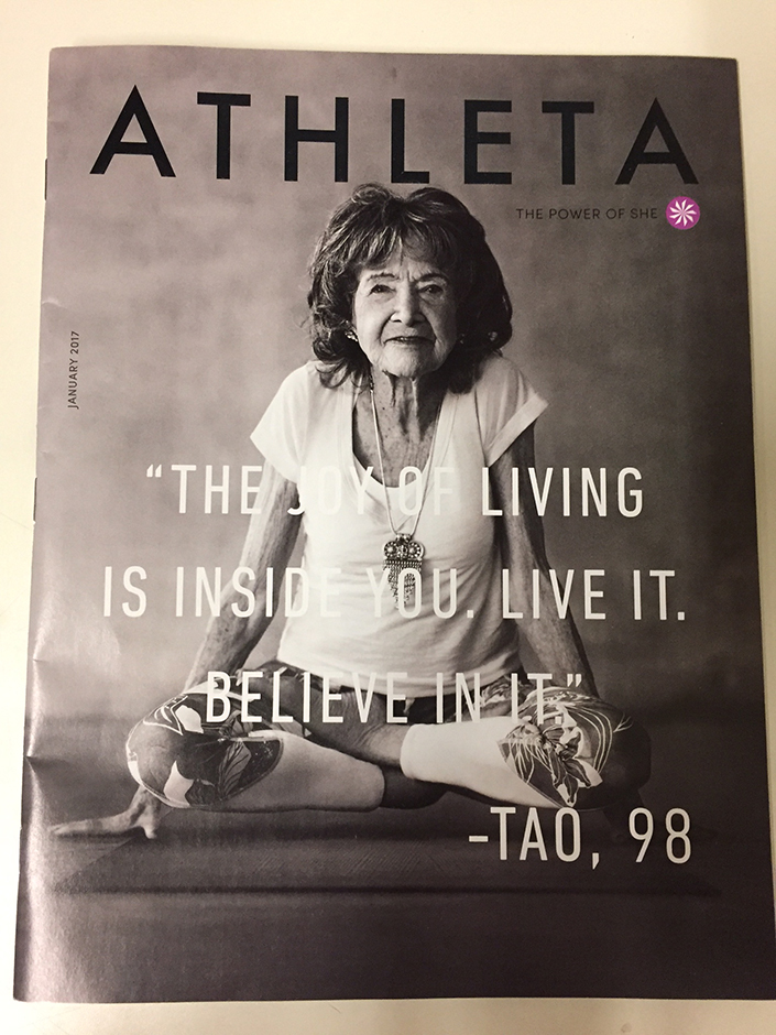 98-year-old yoga master Tao Porchon-Lynch on cover January 2017 of Athleta catalog