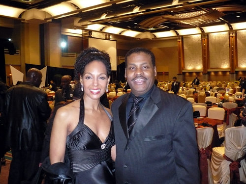 Teresa Kay-Aba Kennedy and Isaac Newton Farris, Jr.--Dr. Martin Luther King's nephew and CEO of The King Center at the 2010 Salute to Greatness Dinner in Atlanta, GA