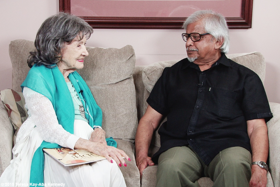 96-year-old yoga master Tao Porchon-Lynch and Arun Gandhi in Rochester, NY - July 2015