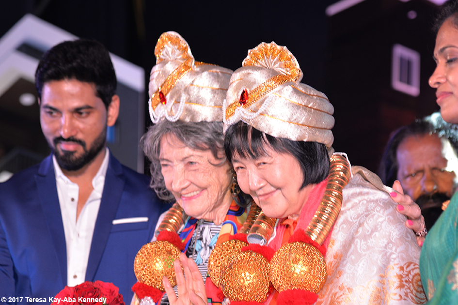 Tao Porchon-Lynch and Yogmata Keiko Aikawa. receiving honors in Bangalore, India - June 19, 2017
