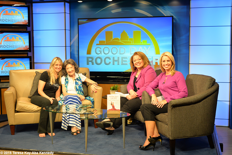 96-year-old yoga master Tao Porchon-Lynch on morning television in Rochester, NY - July 10, 2015