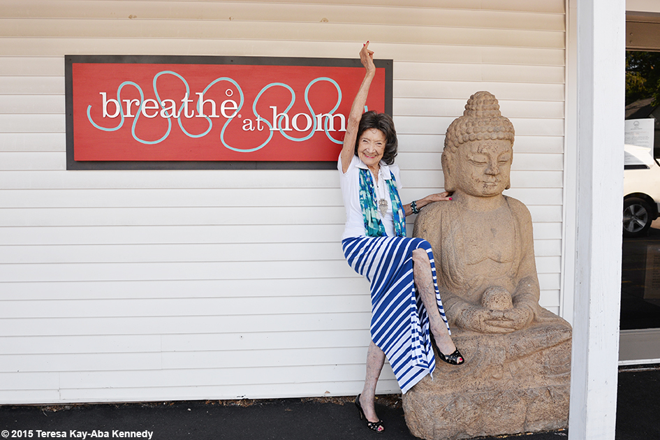 96-year-old yoga master Tao Porchon-Lynch at Breathe Yoga in Rochester, NY - July 2015