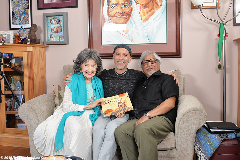 96-year-old yoga master Tao Porchon-Lynch and Arun Gandhi at his home in Rochester, NY - July 9, 2015