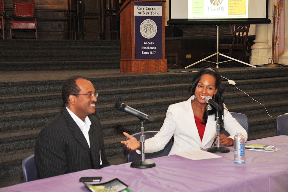 Teresa Kay-Aba Kennedy leading one-on-one conversation with Dr. Kamau Kokayi at the 1st Annual Holistic Wellness Expo at The City College of New York - April 28, 2012