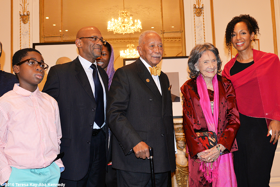 Mayor David Dinkins, 98-year-old yoga master Tao Porchon-Lynch and Teresa Kay-Aba Kennedy at Indian Consulate in New York for International Day of Nonviolence event - October 2016