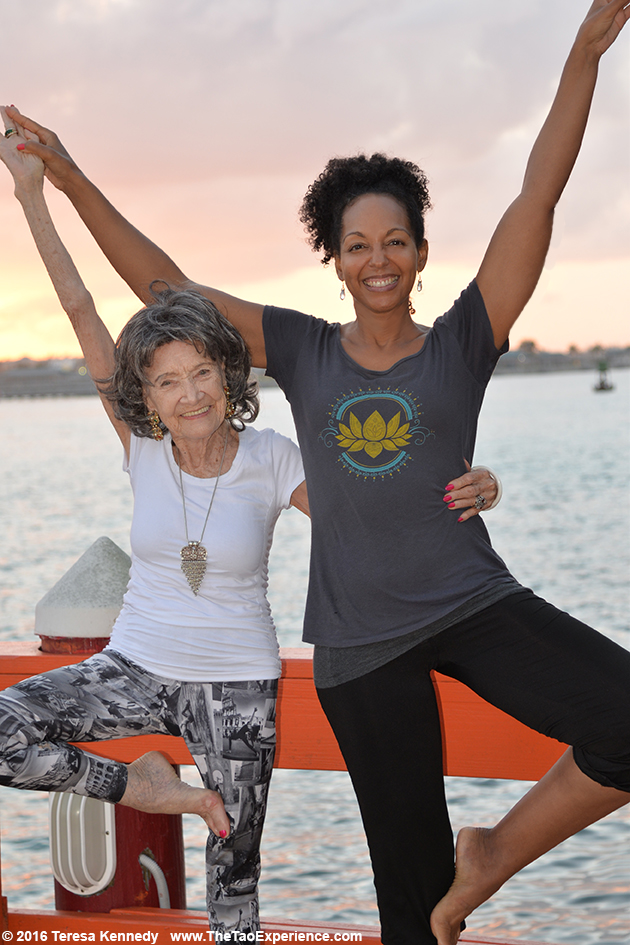97-year-old Yoga Master Tao Porchon-Lynch and Teresa Kay-Aba Kennedy at Sivananda Ashram Yoga Retreat Bahamas – January 10, 2016