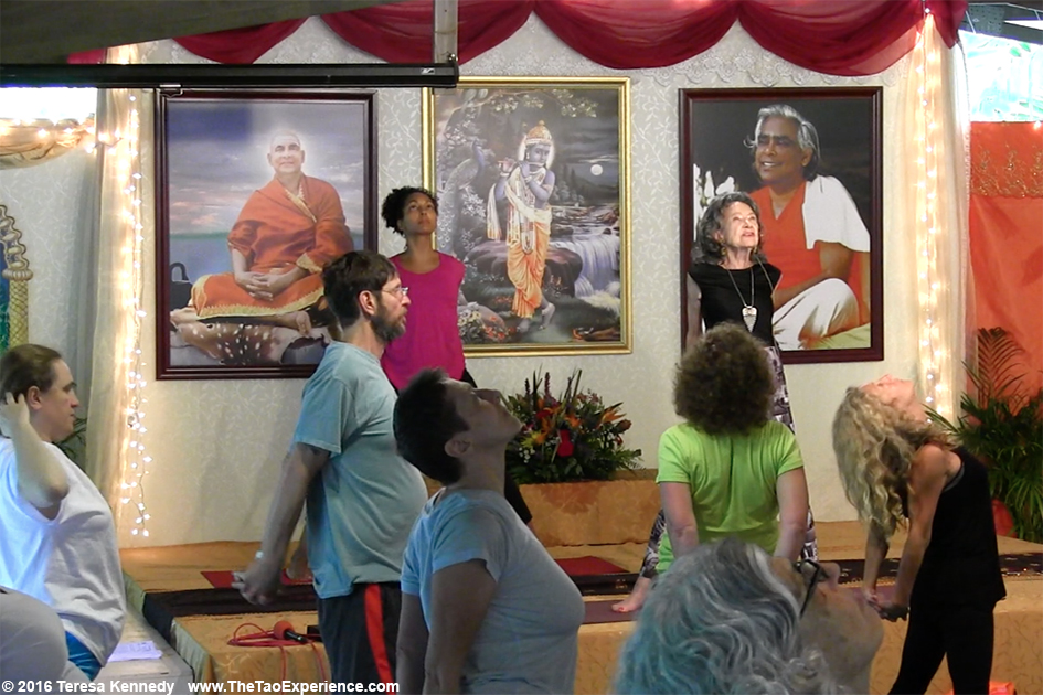 97-year-old Yoga Master Tao Porchon-Lynch teaching and Teresa Kay-Aba Kennedy assisting at Sivananda Ashram Yoga Retreat Bahamas – January 11, 2016