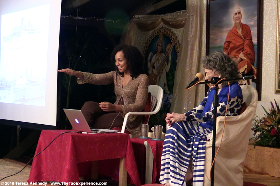 Teresa Kay-Aba Kennedy moderating Conversation with a Master with 97-year-old yoga master Tao Porchon-Lynch at Sivananda Ashram Yoga Retreat Bahamas – January 8, 2016