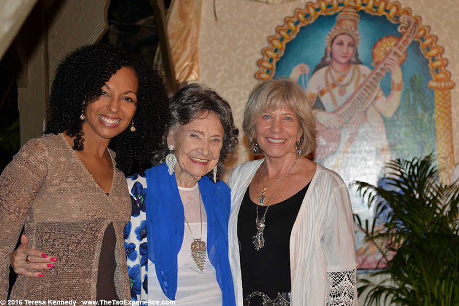 97-year-old Yoga Master Tao Porchon-Lynch with Joan Borysenko and Teresa Kay-Aba Kennedy at Conversation with a Master event at Sivananda Ashram Yoga Retreat Bahamas – January 8, 2016