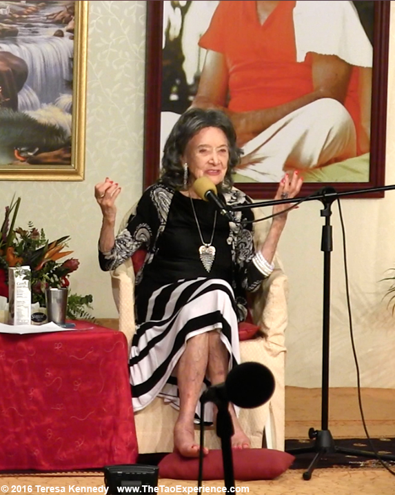 Teresa Kay-Aba Kennedy moderating Conversation with a Master with 97-year-old Yoga Master Tao Porchon-Lynch at Sivananda Ashram Yoga Retreat Bahamas – January 9, 2016