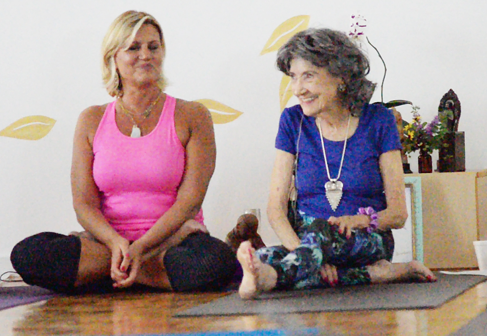 Gretchen Robinson with 97-year-old yoga master Tao Porchon-Lynch at Mark Blanchard's Yoga Kansas City - August 27, 2015