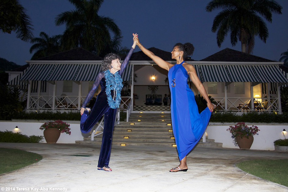 96-year-old yoga master Tao Porchon-Lynch and Teresa Kay-Aba Kennedy in Montego Bay, Jamaica - December 2014