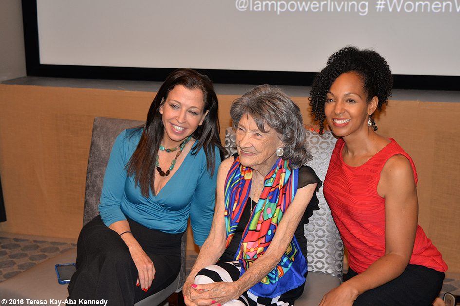 Wendy Diamond, 97-year-old yoga master Tao Porchon-Lynch and Teresa Kay-Aba Kennedy at the Core Club in New York – July 20, 2016