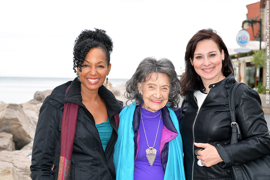 97-year-old yoga master Tao Porchon-Lynch with Teresa Kay-Aba Kennedy and Breda Bozic in Slovenia, October 8, 2015
