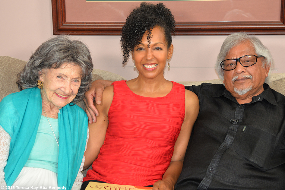96-year-old yoga master Tao Porchon-Lynch, Teresa Kay-Aba Kennedy and Arun Gandhi in his home in Rochester, NY - July 2015