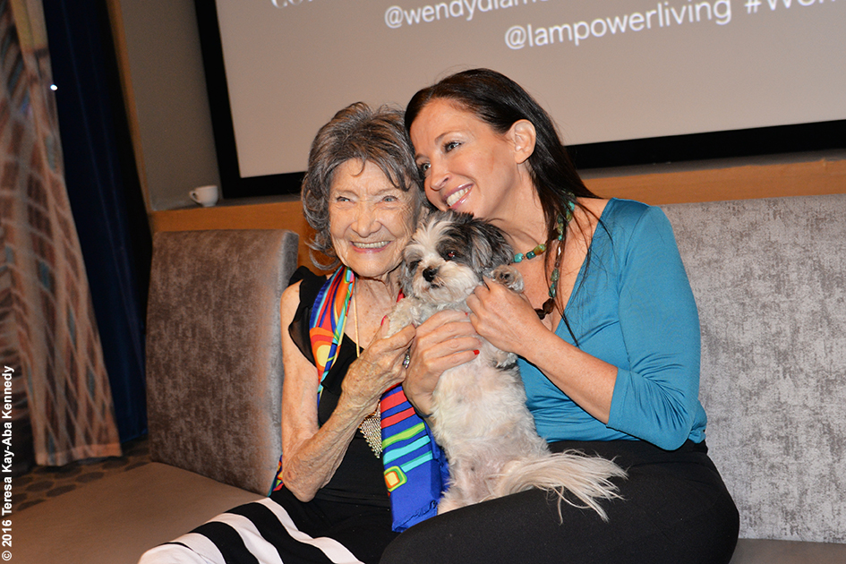 Wendy Diamond and 97-year-old yoga master Tao Porchon-Lynch at the Core Club in New York – July 20, 2016