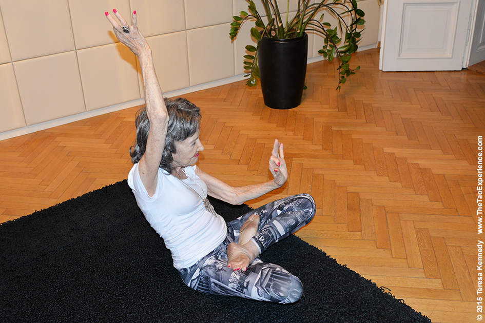 97-year-old yoga master Tao Porchon-Lynch demonstrating yoga for TV interview at the Young Executives Society (YES) office in Slovenia's capital city of Ljubljana, October 6, 2015