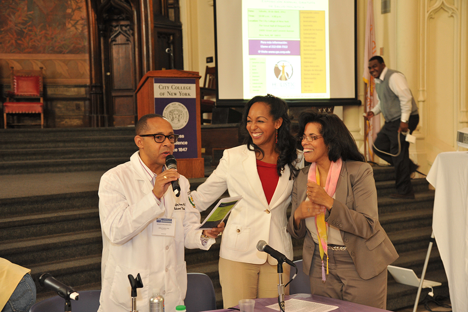 Dr. Jeff Gardere, Teresa Kay-Aba Kennedy and Sharon Mackey-McGee at the 1st Annual Holistic Wellness Expo at The City College of New York - April 28, 2012