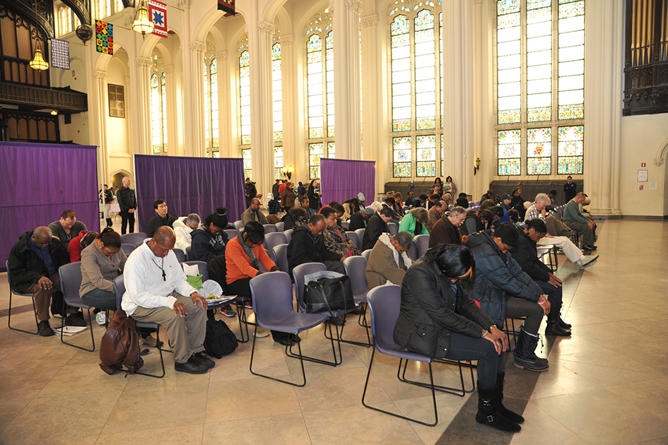 Audience stretching at the 1st Annual Holistic Wellness Expo at The City College of New York - April 28, 2012
