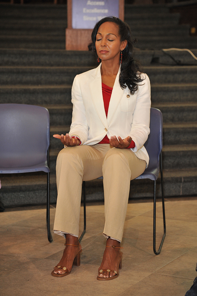 Teresa Kay-Aba Kennedy meditating at the 1st Annual Holistic Wellness Expo at The City College of New York - April 28, 2012