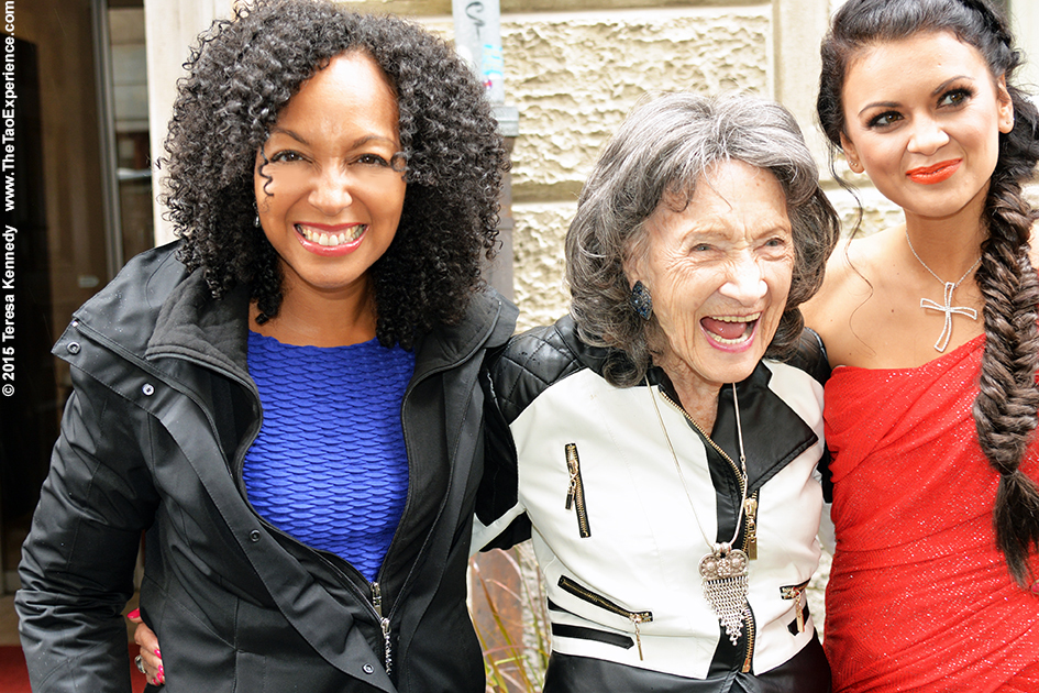 Teresa Kay-Aba Kennedy, 97-year-old yoga master Tao Porchon-Lynch and model/actress Nina Osenar in Slovenia's capital city of Ljubljana, October 6, 2015