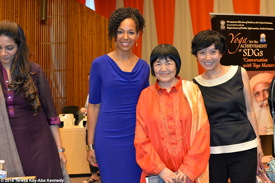 Teresa Kay-Aba Kennedy, Yogmata Keiko Aikawa and Regina Lee at International Day of Yoga program at the United Nations - June 20, 2016