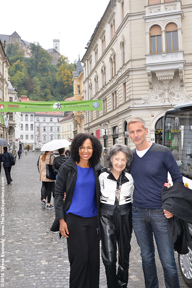 97-year-old Tao Porchon-Lynch, Teresa Kay-Aba Kennedy and Matej Cer in Slovenia's capital city of Ljubljana, October 6, 2015