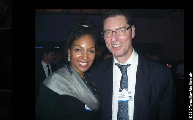Teresa Kay-Aba Kennedy and Wolfgang Lehmacher at the World Economic Forum Annual Meeting in Davos, Switzerland - January 2010