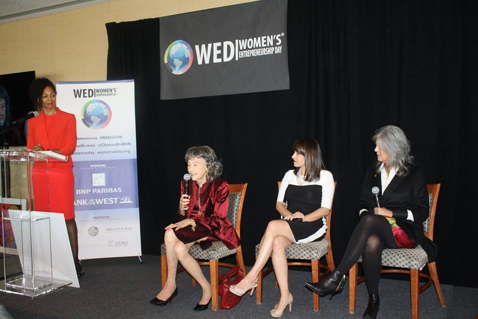 Teresa Kay-Aba Kennedy, 98-year-old yoga master Tao Porchon-Lynch, Rachel Gerrol and Joan Hornig at Women's Entrepreneurship Day at the United Nations in New York – November 18, 2016