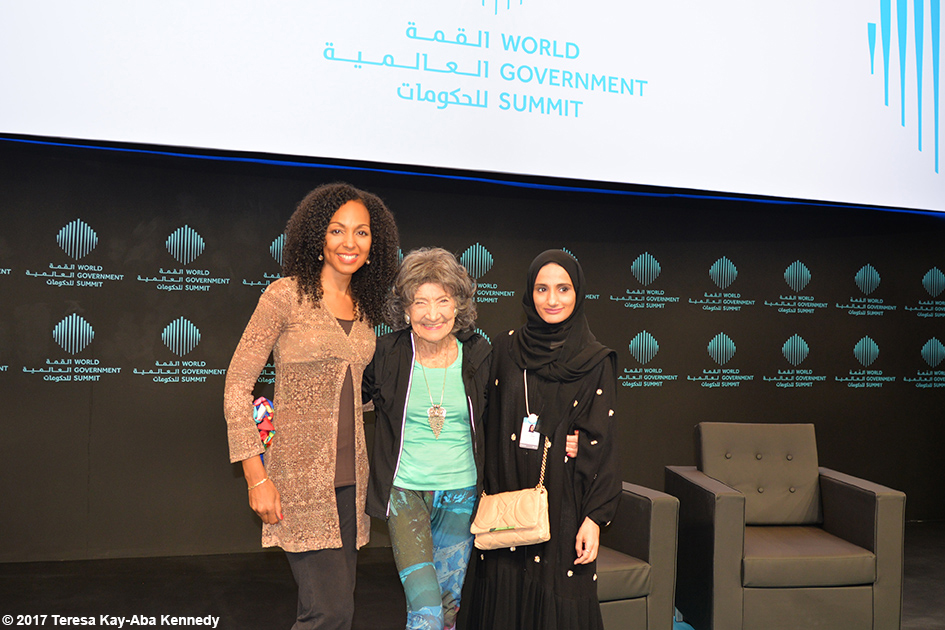 Teresa Kay-Aba Kennedy and 98-year-old yoga master Tao Porchon-Lynch after their Conversation with a Master talk at the World Government Summit in Dubai - February 14, 2017