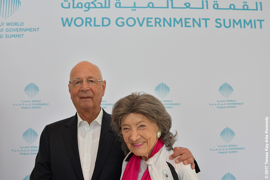 World Economic Forum Founder Klaus Schwab and 98-year-old yoga master Tao Porchon-Lynch at Mina A' Salam in Dubai for World Government Summit – February 13, 2017