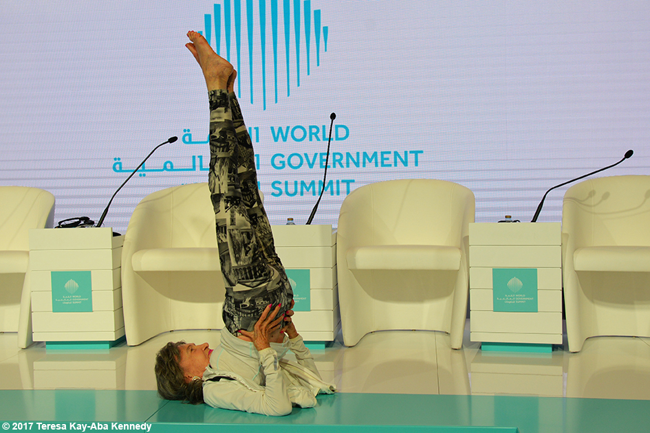 98-year-old yoga master Tao Porchon-Lynch at World Government Summit in Dubai – February 13, 2017