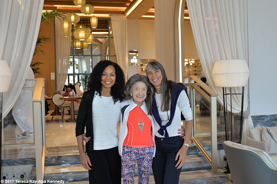 Teresa Kay-Aba Kennedy and 98-year-old yoga master Tao Porchon-Lynch at Jumeriah Al Naseem Resort in Dubai for World Government Summit – February 13, 2017
