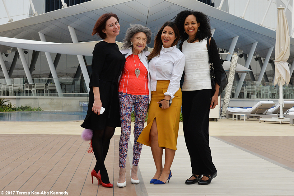 Noor Al Fardan, 98-year-old yoga master Tao Porchon-Lynch, Nina Badri and Teresa Kay-Aba Kennedy at Burj Al Arab in Dubai – February 13, 2017
