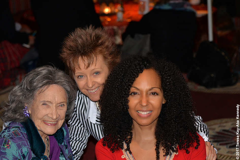 98-year-old Tao Porchon-Lynch, Paula Felps and Teresa Kay-Aba Kennedy at Bab Al Shams Desert Resort in Dubai during World Government Summit – February 13, 2017