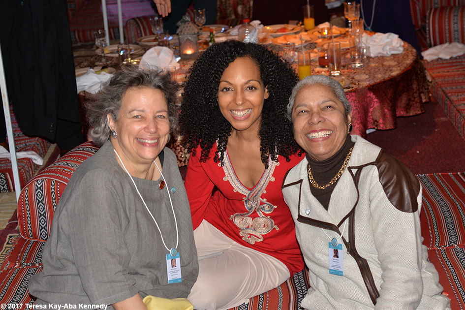 Zarrin Foster, Teresa Kay-Aba Kennedy and Carol A. Martin at Bab Al Shams Desert Resort in Dubai during World Government Summit – February 13, 2017