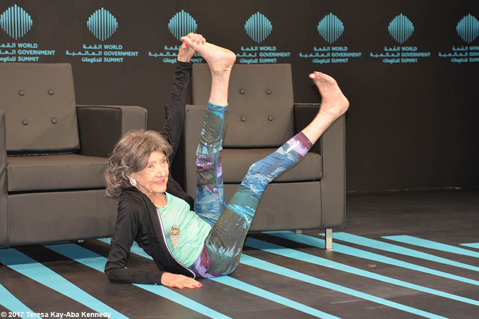 98-year-old yoga master Tao Porchon-Lynch presenting at the World Government Summit in Dubai – February 14, 2017